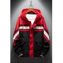 Mens New Fashionable Color Block Long Sleeve Flap Pocket Front Hooded Zip Up Workwear Jacket