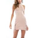 Trendy Halterneck Sleeveless Lace-Up Side Plain Mini Bodycon Dress