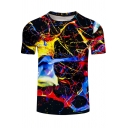 Fashion 3D Colorful Splash-Ink Pattern Round Neck Short Sleeve Fitted T-Shirt