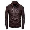 Hot Popular Mens Cool Stand Collar Button Embellished Long Sleeve Zip Up Coffee PU Fitted Motor Jacket
