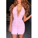 Womens Sexy Halter Lapel Plunging Neck Open Back Sleeveless Button Down Plain Pink Mini Bodycon Dress