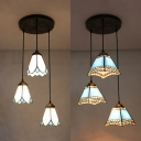 Traditional Cone/Craftsman Pendant Lamp Glass 3 Lights Blue/White Hanging Light for Dining Room