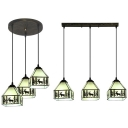 House Dining Table Hanging Light with Deer Glass 3 Lights Rustic Style Island Lamp in Black & White