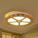 Contemporary Circle LED Ceiling Light Wood Neutral/Warm/White Lighting Flush Mount Light for Kid Bedroom