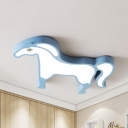 Cartoon Blue/Pink LED Ceiling Mount Light Horse Shape Acrylic Third Gear/Warm/White Flushmount Light for Hallway