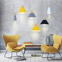 Simple Style Connical Pendant Light Aluminum 1 Light Macaron Colored Hanging Light For Living Room