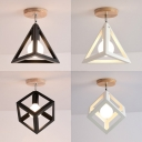 Industrial Cube/Pyramid Semi Flush Ceiling Light 1 Head Metal Ceiling Light in Black/White for Hallway