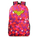 Hot Fashion Letter W Colorblock Geometric Printed Casual School Bag Backpack 31*18*47 CM