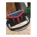 Stylish Color Block Double Pocket Decoration Striped Strap Briefcase Satchel Messenger Bag 26*20*9 CM