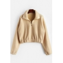 Popular Khaki Solid Color Zipper Stand Collar Long Sleeve Cropped Fleece Sweatshirt