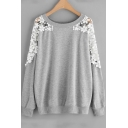 Chic Lace Panel Long Sleeve Round Neck Simple Plain Casual Loose Grey Sweatshirt
