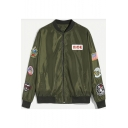 Classic Army Green Letter NICE Badge Patched Stand Collar Long Sleeve Zip Up Flight Bomber Jacket