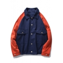 Cool Simple Circle Letter CRYSTAL Back Fashion Two-Tone Lapel Collar Long Sleeve Retro Button Down Casual Overshirt Jacket