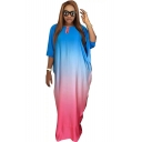 Cool Unique Ombre Color Blue and Pink Round Neck Batwing Sleeve Maxi Shift Dress