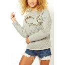 Chic Simple Embroidery Round Neck Long Sleeve Lattice Texture Grey Sweatshirt