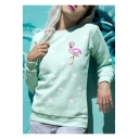 Cute Coconut Swan Pattern Basic Round Neck Long Sleeve Green Relaxed Sweatshirt