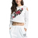 Womens Chic Floral Embroidery Cold Shoulder Long Sleeve Pullover Cropped Sweatshirt