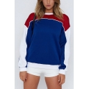 Girls New Fashion Colorblock Long Sleeve Round Neck Loose Casual Sport Blue Sweatshirt