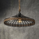 Conical Cage Restaurant Pendant Light Metal & Rope 1 Light American Rustic Pendant Lamp in Beige