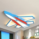 Airplane Shaped LED Ceiling Mount Light Cartoon Metal Flush Light in Warm/White/Stepless Dimming for Boys Bedroom