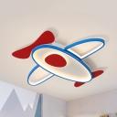 Metal Airplane LED Ceiling Mount Light Kid Bedroom Cartoon Flush Light with Warm/White Lighting