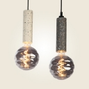 Nordic Black/White Pendant Light Orb 1 Light Cement & Dimple Glass Hanging Light with Warm/White Lighting for Bar