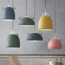 Blue/Green/Pink/Yellow Pendant Light One Light Macaron Loft Metal Hanging Light for Restaurant