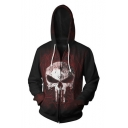 Skull Pattern Long Sleeve Casual Loose Zip Front Red Hoodie