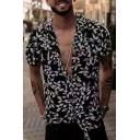 Mens Trendy Black Leaf Pattern Short Sleeve Casual Loose Beach Camp Shirt