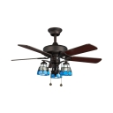 Glass Lattice Bowl Ceiling Light Dining Room 3 Lights Retro Loft Remote Control Ceiling Fan with 5 Blade