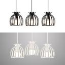 Retro Loft Melon Cage Pendant Light 3 Lights Metal Suspension Light in Black/White for Kitchen