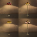 Dragonfly/Flower/Victorian Floor Lamp Stained Glass 2 Lights Tiffany Antique Standing Light