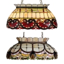 Tiffany Style Baroque/Bead Island Pendant Stained Glass 6 Lights Island Light for Dining Room