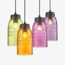 Glass Jar Pendant Light Living Room 1 Light Vintage Stylish Hanging Light in Cognac/Green/Purple/Pink-Purple