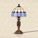 Tradition Tiffany Grid Dome Table Light Art Glass Resin 1 Light Blue Desk Light for Living Room