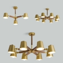 Nordic Style Bucket Chandelier Metal Wood 3/6/8 Heads Gold Hanging Light for Bedroom Study Room