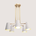Modern Living Room Chandelier Gold Painted Finish 5 Light White Metal Shade Ceiling Light