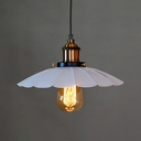 Vintage Scalloped Edge Pendant Light with Pulley 1 Head White Hanging Lamp for Restaurant