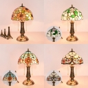 Stained Glass Blossom Desk Light Two Lights Antique Tiffany Table Lamp for Restaurant Cafe