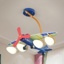 Modern Propeller Airplane Hanging Light with Blue/Green Wing Metal 4 Heads Ceiling Light for Nursing Room