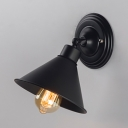 Rotatable Rustic Cone Wall Light Iron 1 Light Black Finish Wall Lamp for Bedroom Shop