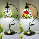 Single Light Bell Desk Light with Blossom Rustic Tiffany Stained Glass Table Light for Study Room