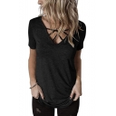 Womens Stylish Crisscross V-Neck Short Sleeve Simple Plain Casual Tee