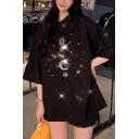 Girls Summer Stylish Glitter Moon Star Pattern Round Neck Oversized Longline T-Shirt