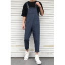 Summer Trendy Striped Printed Rolled Cuff Casual Loose Unisex Tapered Pants Bib Overalls
