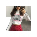 Cool Comic Crying Girl Letter Print Striped Long Sleeve High Neck Cropped White Tee
