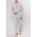 Mens Casual Loose Plain Grey Hooded Long Sleeve Tied Waist Loungewear Jumpsuits Pants