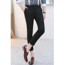 Teenagers Fashion Solid Color Slim Fit Tailored Cropped Dress Trousers Suspender Pants