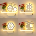 Cartoon Pattern LED Sconce Light Lovely Acrylic Wall Light with Shelf in White for Child Bedroom