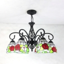 Tiffany Style Rustic Flower Ceiling Light Stained Glass 6 Lights Chandelier Light for Living Room